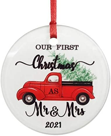 Amazon.com: ZUNON Glass Ornament Our First Christmas Ornaments as Mr & Mrs 2021 Couple Gift Red Truck Christmas Tree Xmas Home Decoration Red Truck Farm Ornament (Mr&Mrs 2): Kitchen & Dining
