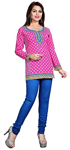 Maple Clothing Womens Printed Short Kurti Tunic Top Blouse Indian Clothes – S…Bust 34 inches, Pink