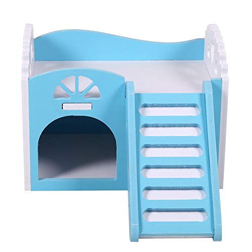 - HEEPDD 3Colors Wooden Double Decker Hamster House with Stair Pet Home Hideout Exercise Toys for Squirrels Gerbils Hamsters Golden Bears Small Animals (Blue)