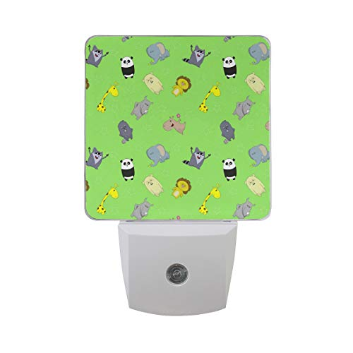 2 Pack Plug-in LED Night Light Cute Animal Cartoons Zoo Lamp with Dusk to Dawn Sensor for Hallway Kitchen Bedroom Stairs (Lamp Baby Zoo)