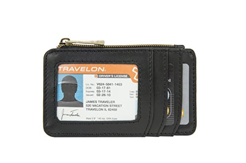 Travelon RFID Blocking Leather Id and Card Holder, Black