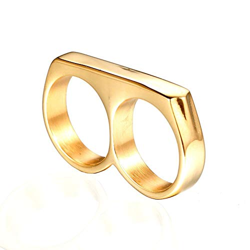 (ZHUOTOP Men's Glasses Shaped Ring Stainless Steel Double Finger Ring Punk Chic Gold US 8)