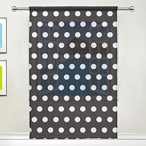 Sheer Curtains Black and White Polka Dot Rod Pocket Sheer Voile Window Curtain Panels for Bedroom & Living Room, 55 x 78 Inch-1 Piece - Dot Rod Polka