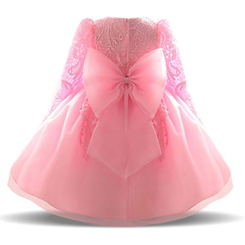 NNJXD Baby Girls Tulle Long Sleeve Big Bow Wedding Embroidered Chrsitening Dress Size (80) 6-12 Months Pink 2 (Tulle Long Sleeve)