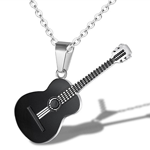 YChoice of Lovely Cosmetics Toy Ladies Vintage Guitar Pendant Titanium Steel Sweater Chain Necklace-Black