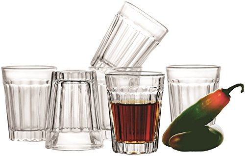 ? Circleware Glass Shot Glasses Set, 1.75 Ounce, Set of 6, Clear Heavy Base Whiskey Drinking Glasses, Limited