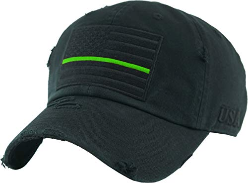 KBVT-209 BLK (Green LINE) Tactical Operator with USA Flag Patch US Army Military Baseball Cap Adjustable