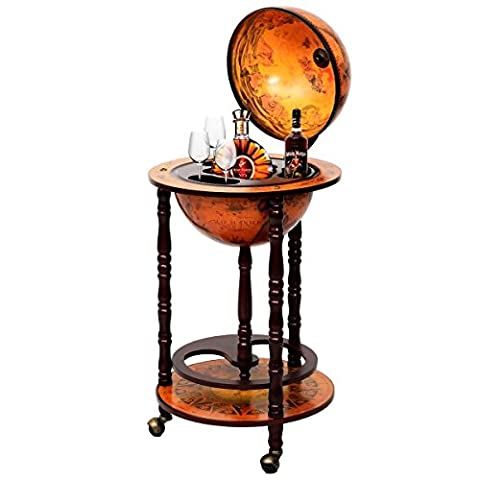 Brand New 36 Inches 18lbs 16th Century Vintage Italian Wood Globe Earth Old World Map Stand Bottle Shelf Rack Bar with Wheels for Liquor Wine Whiskey Beverages