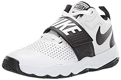 Nike Australia Team Hustle D 8 (PS) Boys Basketball Shoes, White/Black, 1 US