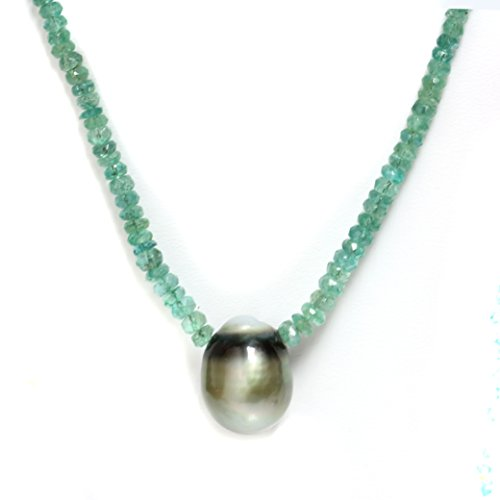(Tahitian South Sea Pearl Emerald Solitaire Necklace 13.5MM AAA 14k Solid White Gold)