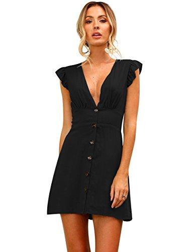 ISSHE Sommerkleider Kurz Damen Kurze Kleider Für Frauen Sommer Sommerkleid  V Ausschnitt Kurzarm Etuikleid Kurzes Kleid ff9be1f1cc