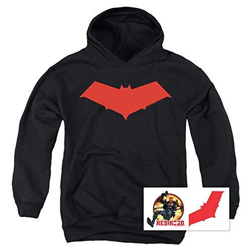 Red Hood Jason Todd DC Comics Superhero Kids Youth Pullover Hoodie & Stickers (Medium)