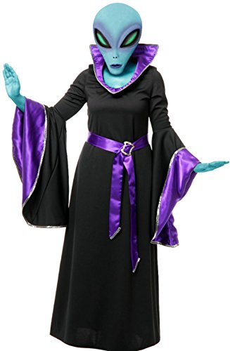 Charades Adult Womens Purple And Black Alien Queen Witch Space Gown Costume Small 5-7 ()
