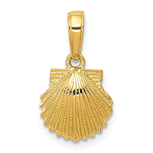 (14k Yellow Gold Scallop Sea Shell Mermaid Nautical Jewelry Pendant Charm Necklace Shore Fine Jewelry Gifts For Women For Her)