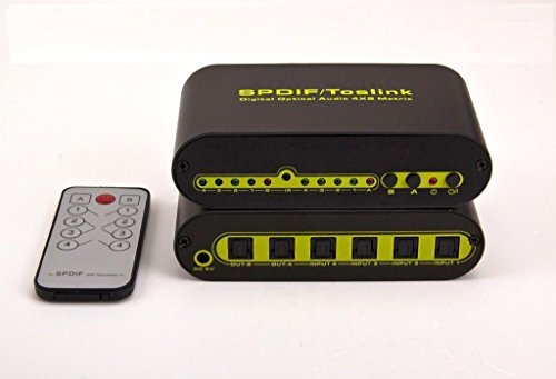 4x2 Digital Optical Toslink Audio Selector Switch W/remote by Speciaty Audio Video