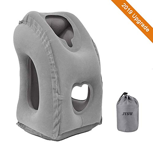 JYSW Inflatable Travel Pillow, Portable Airplane Pillow Multifunctional Neck and Head Support Lap Pillow for Airplanes Trains Buses and Office Napping (Grey)