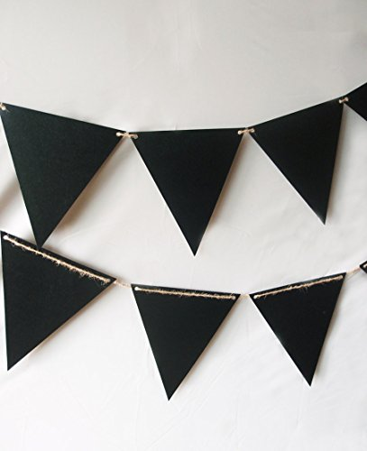 Quasimoon PaperLanternStore.com Chalkboard Sign Triangle Flag Pennant Banner Decoration (11FT) -