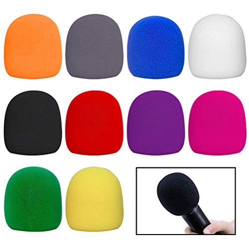 Cooyeah Thick Microphone Cover, Reusable Colorful Handheld Stage Microphone Windscreen Foam Cover Set for Karaoke DJ-10 Pack
