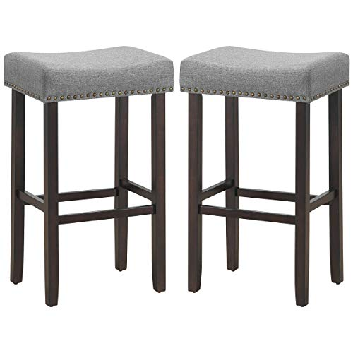 lunanice Grey 2 pcs Nailhead Saddle Bar Stools size17.5Lx13.5Wx29.5H inch Weight capacity 264lbs Office Bars Cafes Shop Home Kitchen BedRoom Workroom Fabric Seat&Wood Legs classic brass nailhead decor (Barstool Vintage Toledo)