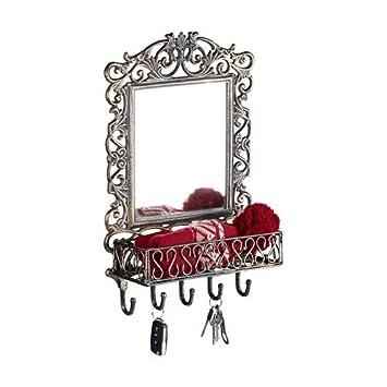 Amazon.com: Relaxdays - Perchero de pared con espejo, hierro ...