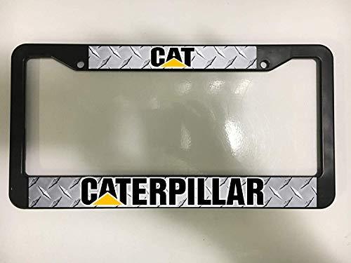 EHAKB Frame CAT Caterpillar Diamond Plate Truck Construction Black License Plate Frame New 12