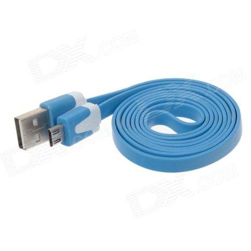 1 Meter USB 2.0 A to Micro USB - Flat Charging/Data Black (Blue)