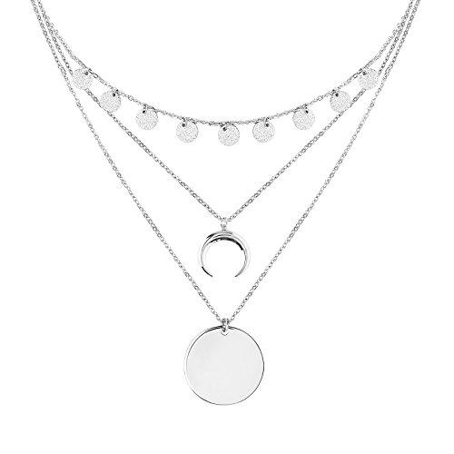 (POMINA Multi-Layered Sandblasted Coin, Squash Blossom Pendant Necklace)