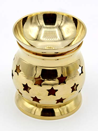 "Solid Brass 3"" Handcrafted Essential Incense Oil Diffuser,Oil Burner for Fragrance and Aromatherapy -by Crystal (Carved Incense Burner)"