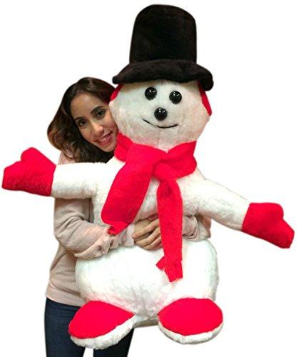 Big Plush American Made Giant Stuffed Snowman 3 feet Tall Soft Christmas Plushie Non-Smoking NO Pipe
