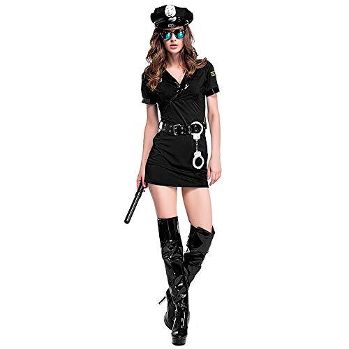 Albabara Women's Sexy Police Officer Uniform Costume with Handcuffs Belt Hat