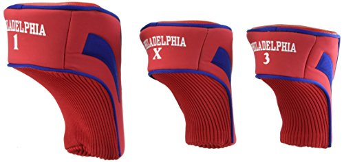 Team Golf MLB Philadelphia Phillies Contour Golf Club Headcovers (3 Count), Numbered 1, 3, & X, Fits Oversized Drivers, Utility, Rescue & Fairway Clubs, Velour lined for Extra Club Protection ()