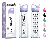 Mango Sports Water Bottle With Straw Motivational Time Markings -BPA Free With Flip Nozzle, Leakproof Cap and Times To Drink [900ml/32oz]