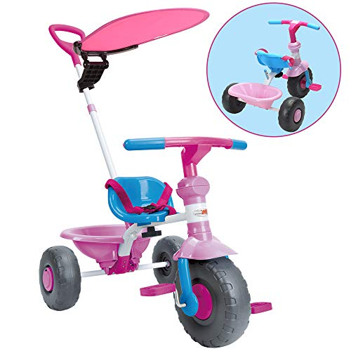 (ChromeWheels Kids' Tricycle, with Canopy and Pushing Handle for 1-3 Years Old Toddler, Pink)