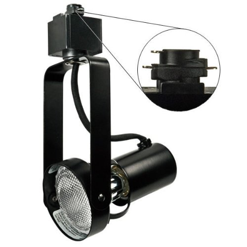 - Nora Track Light NTH-146B - Black - PAR20 Front Loading Gimbal Ring - Compatible with Halo Track - 120 Volt