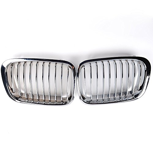 Chrome Front Kidney Grille Grill Compatible for 1998-2001 E46 320i 323i 325i 328i 330i Sedan 4-Door Replacement
