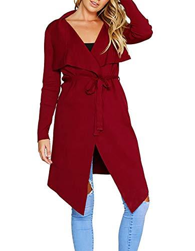 PRETTYGARDEN Women's Long Sleeve Drape Front Soft High Low Asymmetrical Irregular Hem Knit Cardigan Coat with Belt (Wine Red, Large)