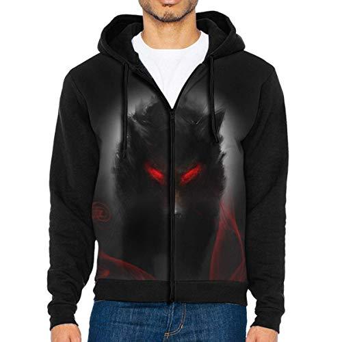 Men's Casual Full Zip Jackets Hoodie Big Black Wolf Hooded Sweatshirt Pullover