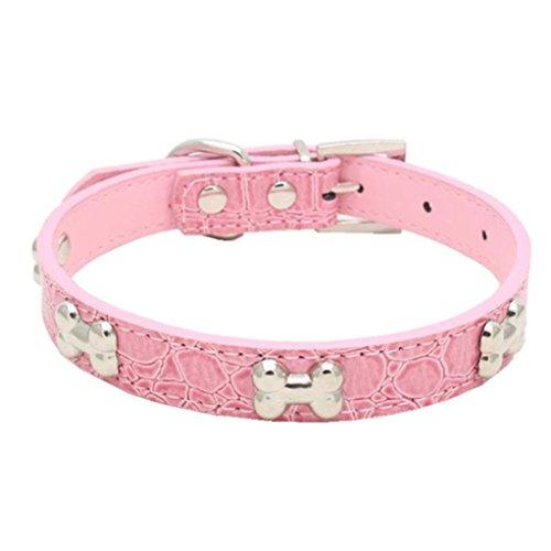Bone Adjustable Collar - Hot Sale!2018 Clearance!Dog Clothes❤️ZYEE❤️ Exquisite Adjustable Buckle Metal Bone Dog Puppy Pet Collars (S, Pink)
