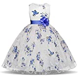 Suma-ma 3 Colors Kids Girls Dress-Floral Gown Party and Sleeveless Tutu Dress-Lovely and Beautiful