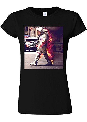 壁紙トレイル歯科医Burning Astronaut Space Galaxy Novelty Black Women T Shirt Top-XL
