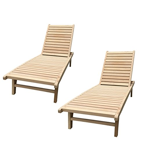 WALCUT Outdoor Double Foldable Chaise Lounge Chair Wood Adirondack Chair Adjustable Patio Chaise Lounge Furniture Set of 2 (Outdoor Adjustable Adirondack Lounge)