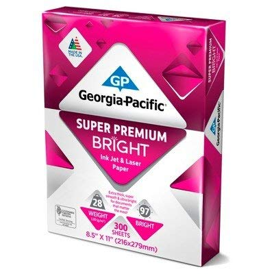 Georgia Pacific174; Printer Paper Letter Size 28lb Super Premium Bright 300ct White