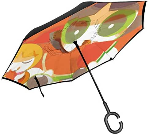 Lxjjj The Powerpuff Girls Eat Watermelon Reverse & Inverted Umbrella, Umbrella Windproof,Umbrellas for Women with UV Protection, Upside Down Umbrella with C-Shaped Handle