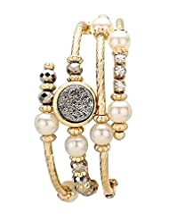 Rosemarie Collections Women's Druzy Accent Crystal Pearl Bead Coiled Bracelet Gold and Hematite Color