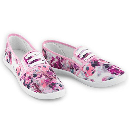 Collections Etc Floral Print Stretch Lace No Tie Sneakers for Women, Pink Multi, 9 ()