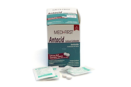 Medi-First 80233 Chewable Mint Antacid Tablets, 50-Packets of - Antacid Packs 100