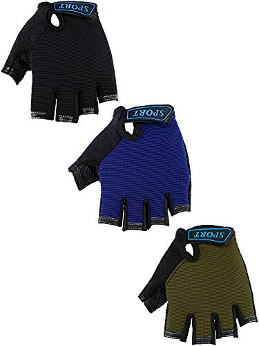 3 Pairs Kids Half Finger Gloves Sport Gloves Non-Slip Gel Gloves for Children 6-10 Years Cycling Biking