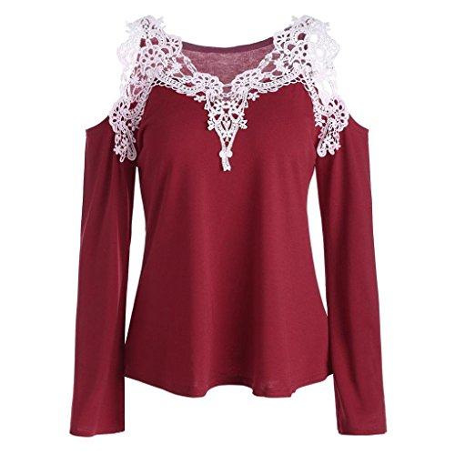 (Lace Shirt,Toimoth Fashion Women Casual Blouse Off Shoulder Tops Color Block Appliques T-Shirt (Wine,2XL))