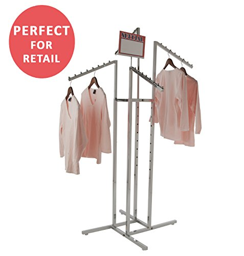 Clothing Rack – Heavy Duty Chrome 4 Way Rack, Adjustable Arms, Square Tubing, Perfect for Clothing Store Display With 4 Slanted (Chrome Clothing Retail)