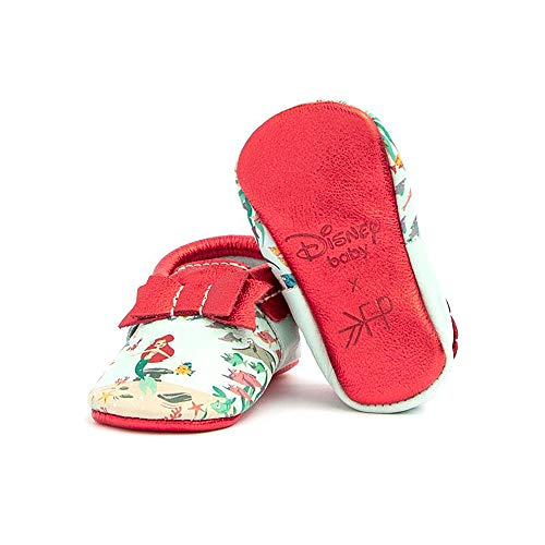 Freshly Picked - Soft Sole Leather Bow Moccasins - Disney Princess Baby Girl Shoes - Size 3 Ariel ()